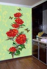 China Wall Decoration Stickers Non-Woven Fabric 5JJ01-022S Flower Wall Paper on sale