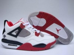 China Men Air Jordan 4 White/Black/Red on sale
