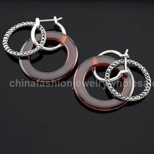 Quality Agate Circle Sterling Silver Earrings for sale