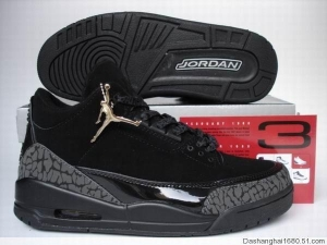 China Air Jordan Retro 3 Black Dark Charcoal Black Black Cat on sale