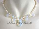 China beautiful 7mm white rice and round freshwater pearl necklace with a teardrop opal pendant on sale