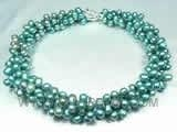 China triple rows peacock green top-drilled pearl twisted necklace on sale