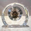 China Crystal Clock with Brass Skeleton Movement, Customized Designs are Accepted for sale