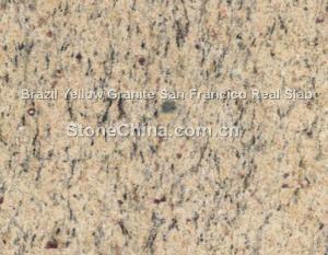 China Brazil Yellow Granite San Francico Real Slab on sale