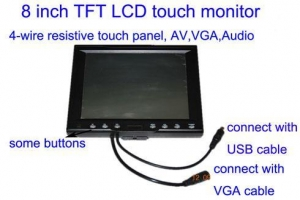 China 8TFT LCD car monitor with 4-wire resistive screen,VGA ,AV function on sale