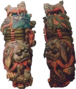 China Screen * Panel Original Pair Chinese Antique Wooden Lion on sale