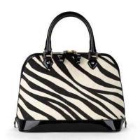 Women Black and white Zebra Print Haircalf leather bag