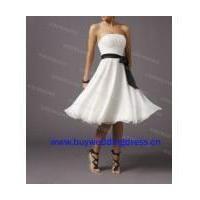 Strapless ivory short bridesmaid dress