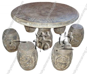 China Antique stone table Round Table of Six Frusta on sale
