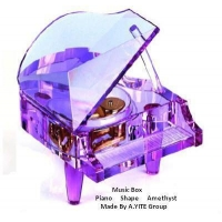 Piano Shape Amethyst Music Box