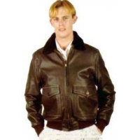 China Mens Aviation Men's Navy Leather Jacket on sale