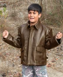 China Kids Indy Leather Bomber Jacket on sale