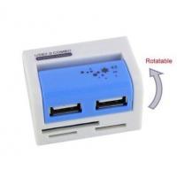 Rotatable USB Card Reader with 2-Port USB HUB (BRC-120)