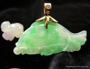 China 18K Gold with Green Jade Fish Pendant on sale