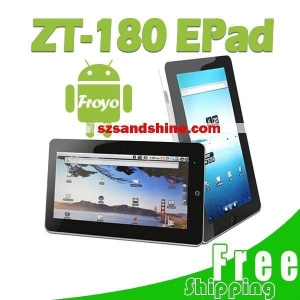 Quality Free Shipping 10.2'' Tablet PC Android 2.1 Netbook CPU 1GMHZ ZT-180 2G DDR 256MB for sale