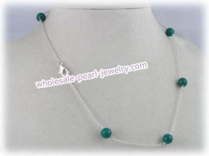 China Tin Cup gem stone Necklace with 8mm malachite on sale