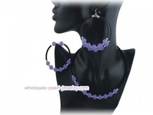 China purple jade &sterling silver bead black leather jewelry set on sale