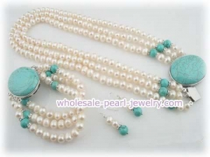 China Elegant triple strands freshwater pearl and turquoise necklace on sale