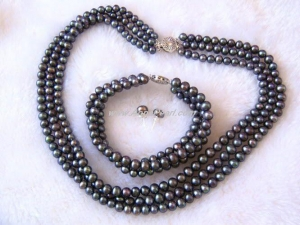 China 6-7mm Black Freshwater Pearl Necklace Bracelet Earring on sale