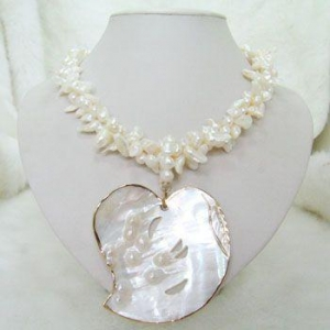 China Irregular White Fresh Water Pearl Twisted Mother Pearl Pendant Necklace on sale