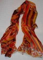China Oblongs Printed Silk Scarf on sale