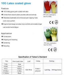 China LATEX GLOVES 10GLatexCoatedGlove 10G Latex Coated Glove on sale