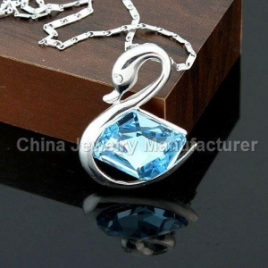 China Copper plate platina nacklace with butterfly and Austria Swarovski crystal swan pendant on sale