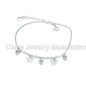 China Butterfly 925 silver anklets on sale