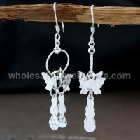 Butterfly Fashion Chandelier Earrings Silver