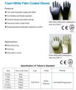 China Foam Nitrile Palm Coated Gloves on sale