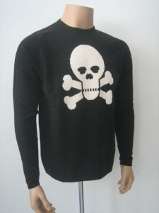 China Men Cashmere Sweater Men Intarsia Sweater with Crossbones on sale