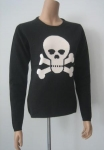 Women Cashmere Sweater Crossbones Intarsia Cashmere Sweater