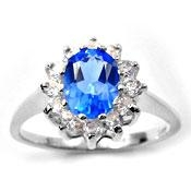 China 925 Sterling Silver Simulated Blue Gemstone Ring on sale