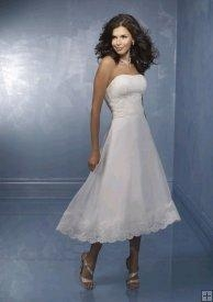 China Strapless Tea Length Short Wedding Dress with Lace whz8241 on sale