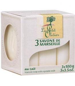 China White Milk (3) Marseille Soaps by Le Petit Olivier on sale