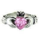 China Stainless Steel Cubic Zirconia Birthstone Claddagh Ring on sale