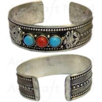 China Carved Metal with Stone Bangle on sale