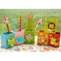 China Multi-color/function pen ST019 Cartoon animal wooden pen container on sale