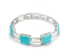 China China Supplier 925 Sterling Silver Charm Bracelet Jewelry With Square Turquoise Stone Wholesale on sale