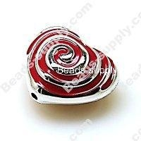 China Acrylic Beads Bead,Plated Acrylic Beads with enamel,Heart Beads ,15*24*28mm , Red on sale