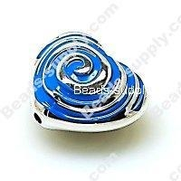 China Acrylic Beads Bead,Plated Acrylic Beads with enamel,Heart Beads ,15*24*28mm , Blue on sale