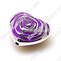 China Acrylic Beads Bead,Plated Acrylic Beads with enamel,Heart Beads ,15*24*28mm , Purple on sale