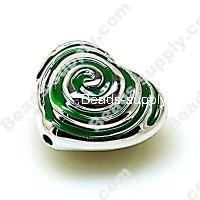 China Acrylic Beads Bead,Plated Acrylic Beads with enamel,Heart Beads ,15*24*28mm , Green on sale