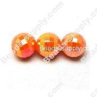 China Acrylic Beads 6 MM Acrylic Football Beads , AB Colored , Orange on sale