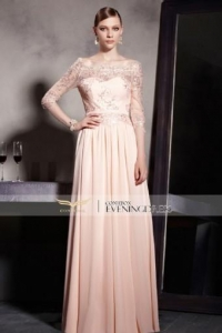 China Handwork Pink Lace Satin Half Sleeve Elegant Ball long Party Dress 30596 on sale