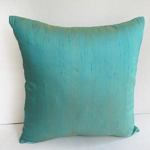China aqua blue dupioni silk throw pillow and cushion cover on sale