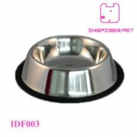 China Stainless Steel No Tip Dog Bowl With Rubber Ring Non Skid on sale