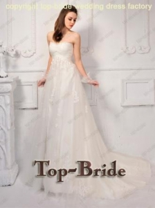 China S600 2012 Latest Custom Made Sweetheart Bow Tulle Wedding Dresses on sale