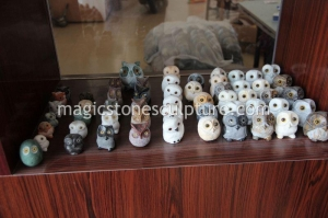 China natural stone carving owls 2 on sale
