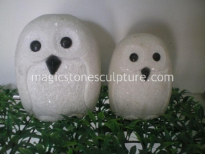 China white marble owl on sale
